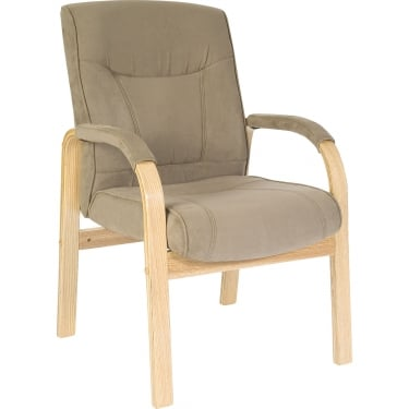 Guildford Cappuccino Visitor Chair with Light Wood Frame