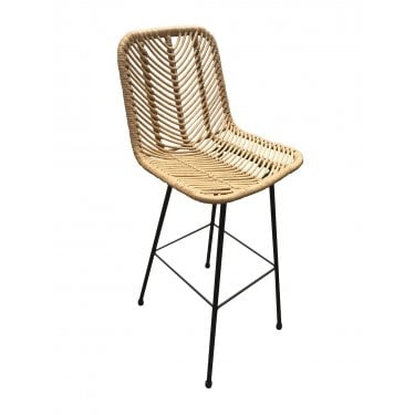 Haisley Bar Stool, Black & Rattan