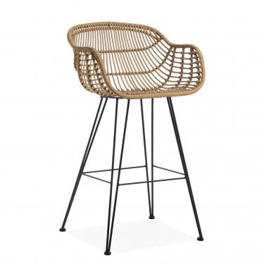 Haisley Carver Bar Stool, Rattan