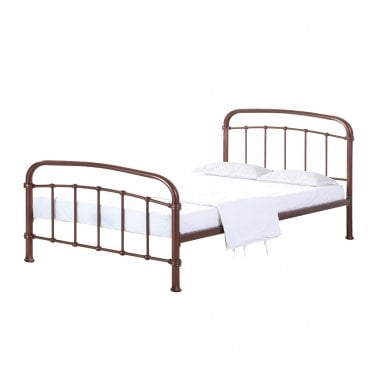 Halston Double Metal Bed, Copper
