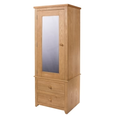 Hamilton American White Oak 2 Drawer 1 Door Mirrored Armoire Wardrobe
