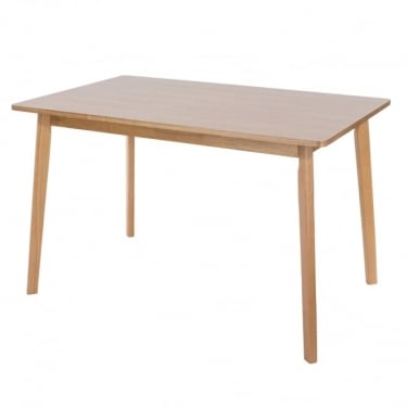 Hamilton American White Oak Rectangular Dining Table with Rubberwood Legs