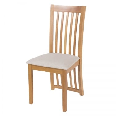 Hamilton American White Oak Vertical Strip Dining Chair Pair with Rubberwood Legs