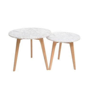 Harlow Round Nesting Tables, White & Marble
