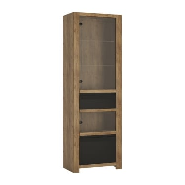 Havana Matte Black & Lefkas Oak 1 Drawer 1 Door Display Unit