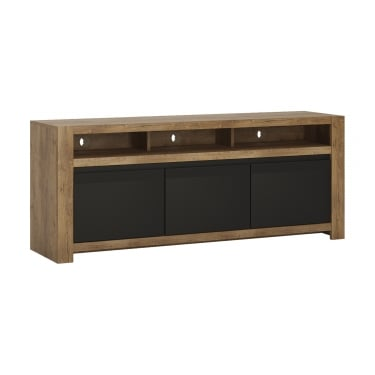 Havana Matte Black & Lefkas Oak 1 Drawer 2 Door TV Unit