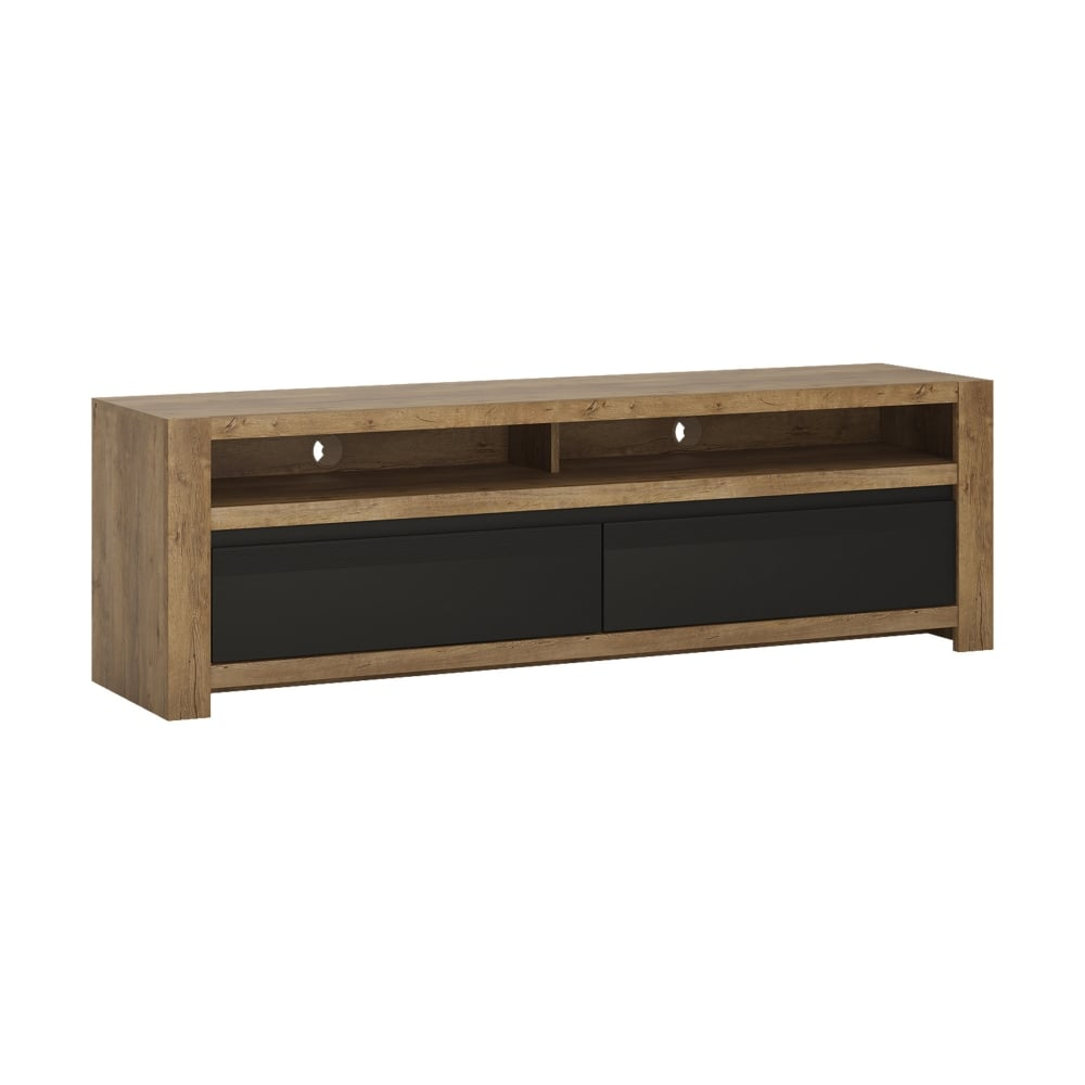 new product 89b83 711a9 Havana Matte Black & Lefkas Oak 2 Drawer TV Unit