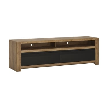 Havana Matte Black & Lefkas Oak 2 Drawer TV Unit