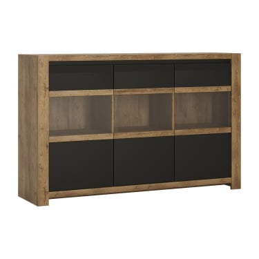 Havana Matte Black & Lefkas Oak 3 Door Sideboard