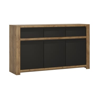 Havana Matte Black & Lefkas Oak 3 Drawer 3 Door Sideboard