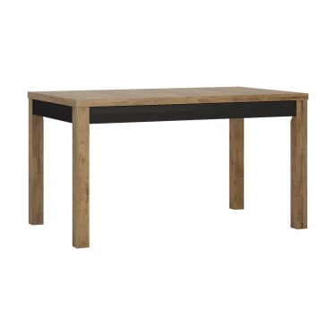 Havana Matte Black & Lefkas Oak Extending Dining Table