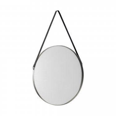 Hera Round Mirror, Antique Silver
