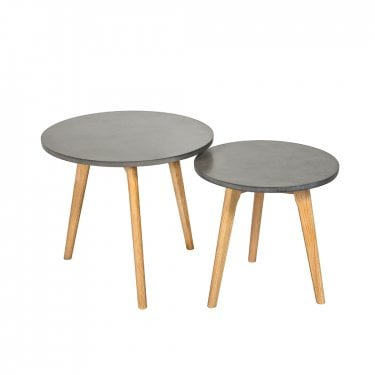 Hex Round Nesting Tables, Concrete Grey