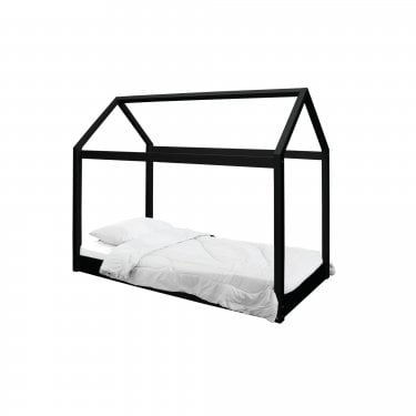 Hickory Single Contemporary Canopy Bed, Black