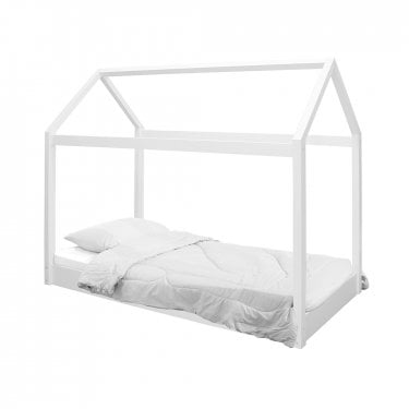 Hickory Single Contemporary Canopy Bed, White