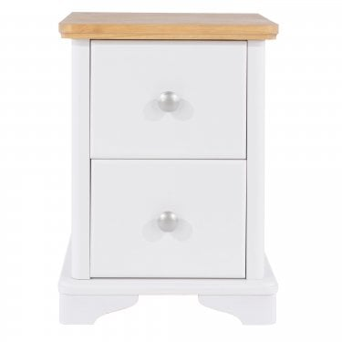 Highland Home AB Assembled Oak & White Painted 2 Drawer Compact Bedside Cabinet