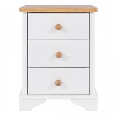 Highland Home AB Assembled Oak & White Painted 3 Drawer Bedside Cabinet