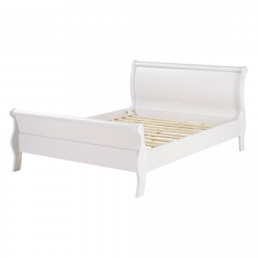Highland Home AB Assembled Oak & White Painted High-End Sleigh King Sized Bed