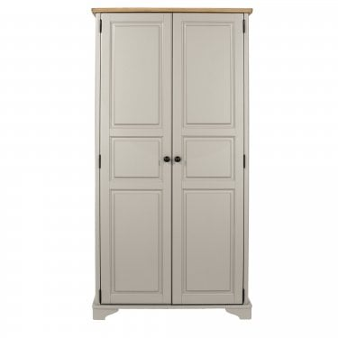 Highland Home BB Assembled Oak & Grey Painted 2 Door Wardrobe