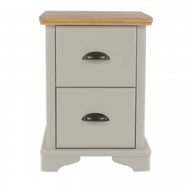 Highland Home BB Assembled Oak & Grey Painted 2 Drawer Compact Bedside Cabinet