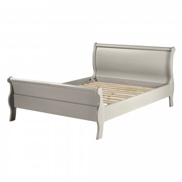 Highland Home BB Assembled Oak & Grey Painted High-End Sleigh King Sized Bed