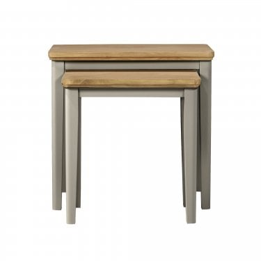 Highland Home BD Assembled Oak & Grey Painted Nest of Tables