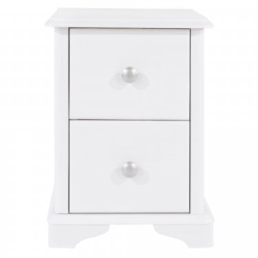 Highland Home CB Assembled White Painted 2 Drawer Compact Bedside Cabinet