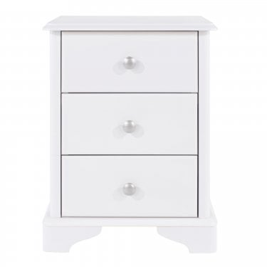 Highland Home CB Assembled White Painted 3 Drawer Bedside Cabinet