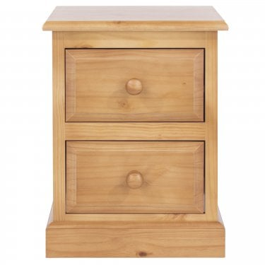 Highland Home EB Assembled Antique Lacquered Pine 2 Drawer Bedside Cabinet