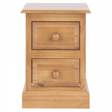 Highland Home EB Assembled Antique Lacquered Pine 2 Drawer Compact Bedside Cabinet