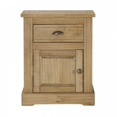 Highland Home FB Assembled Antique Waxed Pine 1 Door 1 Drawer Bedside Cabinet