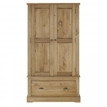 Highland Home FB Assembled Antique Waxed Pine 2 Door 1 Drawer Wardrobe