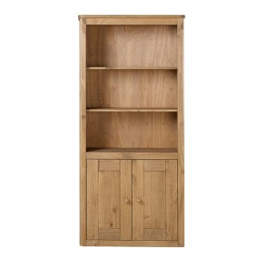 Highland Home HD Assembled Antique Waxed Pine 2 Door Bookcase