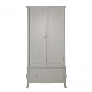 Highland Home JB Assembled Curved Grey Painted 2 Door 1 Drawer Wardrobe