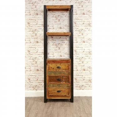 Hoffman 3 Drawer Bookcase, Reclaimed Wood