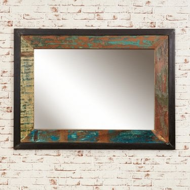 Hoffman Large Rectangular Wall Mirror, Reclaimed Wood