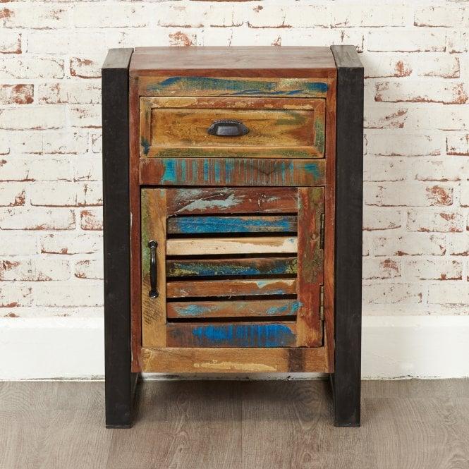 Hoffman Rectangular 1 Door 1 Drawer Lamp Table, Reclaimed Wood
