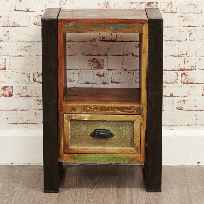 Hoffman Rectangular 1 Drawer Lamp Table, Reclaimed Wood