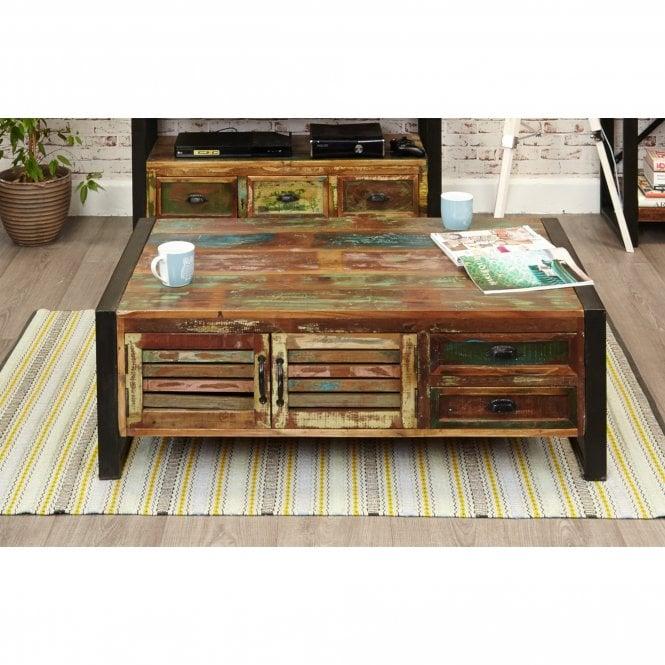 Hoffman Rectangular 2 Door 4 Drawer Coffee Table, Reclaimed Wood