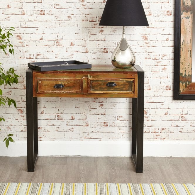Hoffman Rectangular 2 Drawer Console Table, Reclaimed Wood