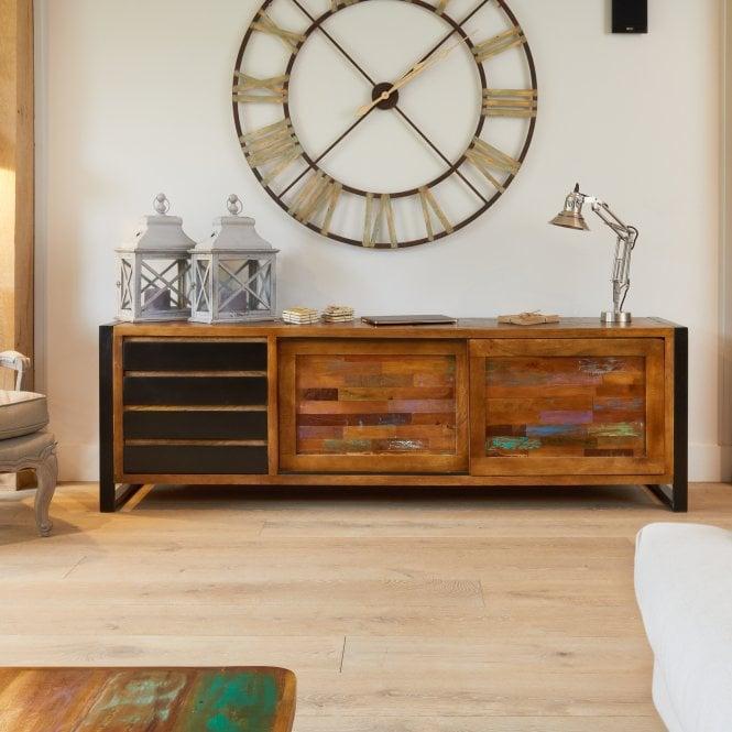 Hoffman Rectangular Large 1 Door 4 Drawer Sideboard, Reclaimed Wood