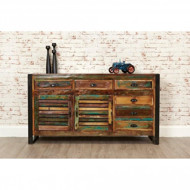 Hoffman Rectangular Large 1 Door 6 Drawer Sideboard, Reclaimed Wood