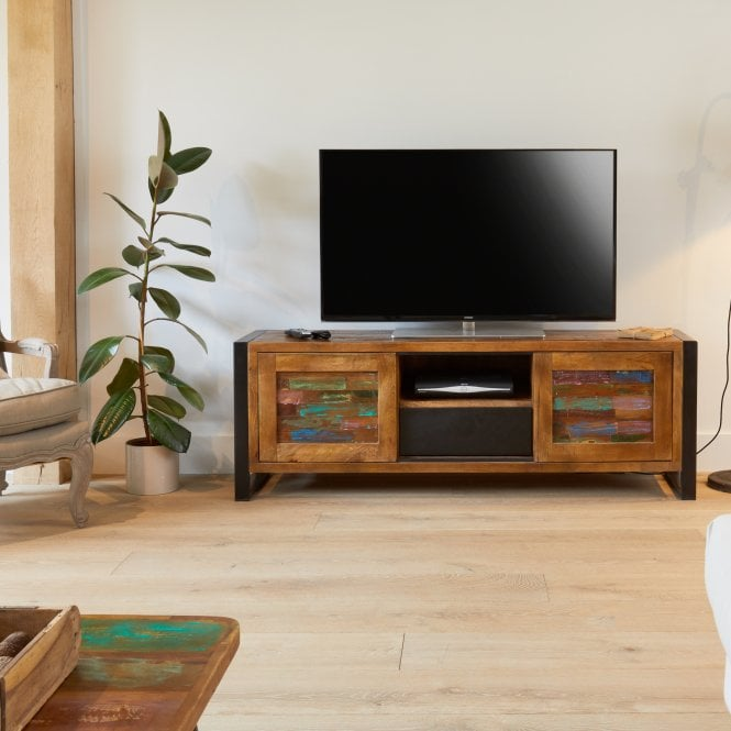 Hoffman Rectangular Large 2 Door 1 Drawer TV Unit, Reclaimed Wood