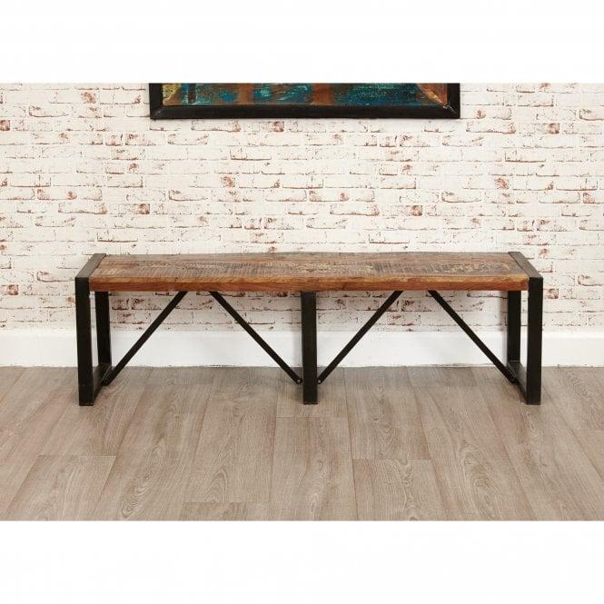 Hoffman Rectangular Large Dining Bench, Reclaimed Wood