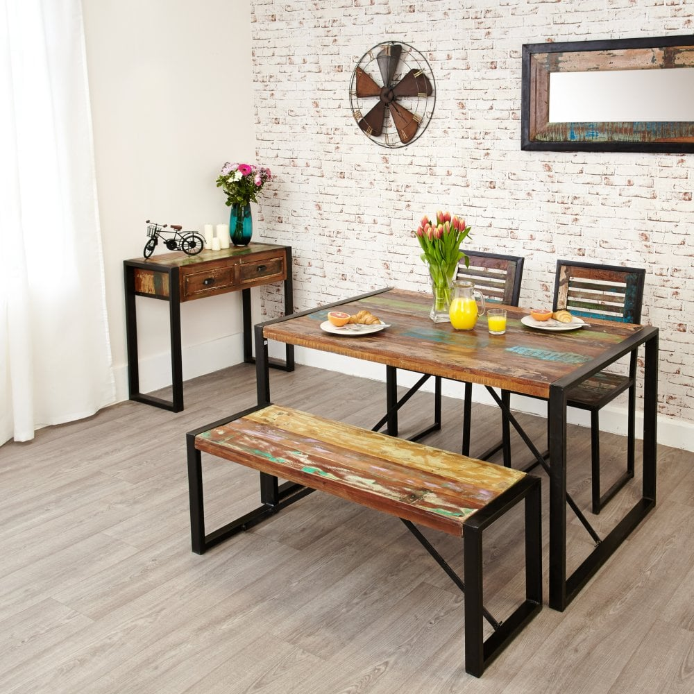 Hugo Isaac Hoffman Small Rectangular Dining Table Reclaimed Wood Leader Furniture