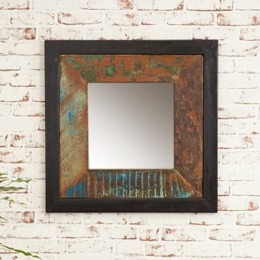 Hoffman Small Square Mirror, Reclaimed Wood