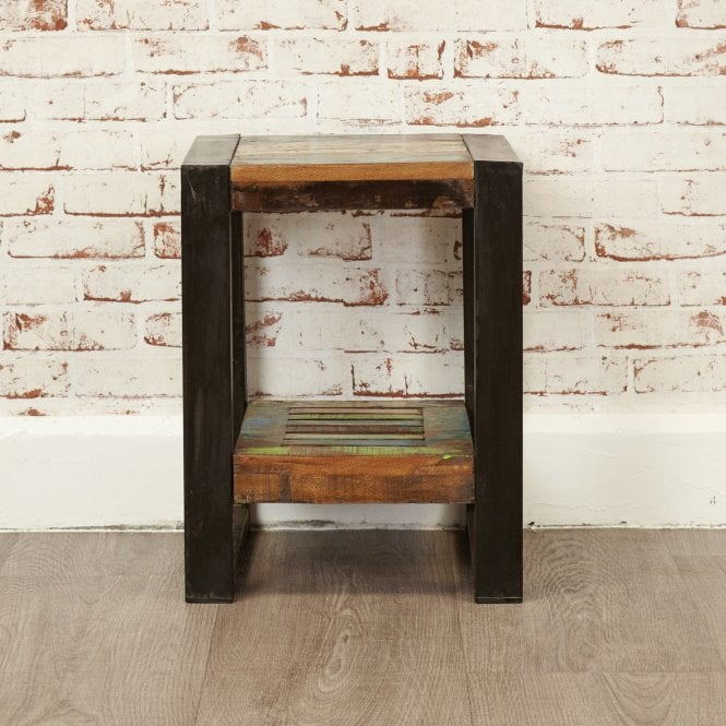 Hoffman Square & Low Lamp Table, Reclaimed Wood