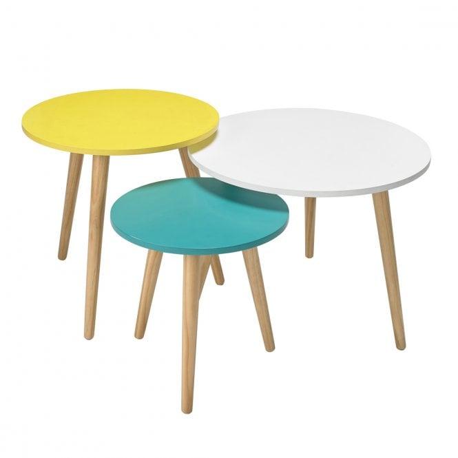 Hove Round 3 Colour Nesting Tables, Oak