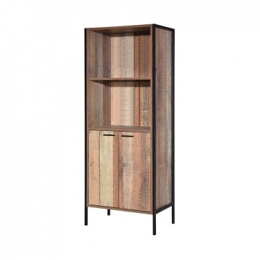 Hoxton 1 Door Display Cabinet, Distressed Oak