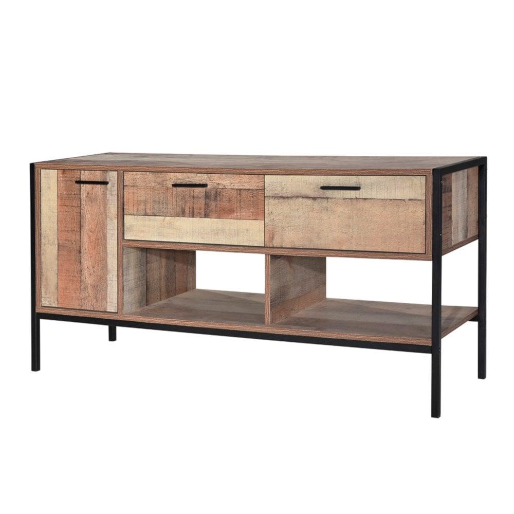 Lpd furniture hoxton distressed oak media unit
